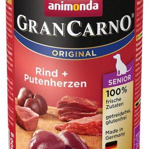 Animonda dog konzerva Gran Carno Senior hovězí/krůtí srdce - 400g