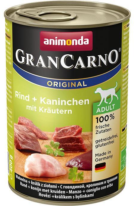 Animonda dog konzerva Gran Carno hovězí/králík/bylinky - 6x 400g