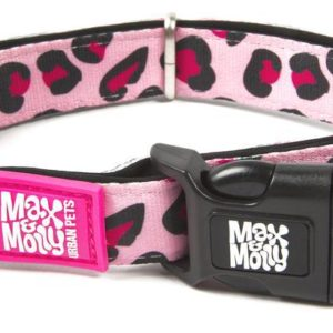 MAX and MOLLY obojek  LEOPARD PINK - M: 2cm/34-55cm