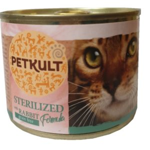 PETKULT  cat konz. STERILISED  králík - 185g (9 + 3 gratis)