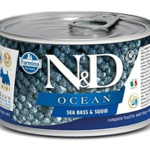 N&D dog OCEAN konz. ADULT MINI sea bass/squid - 140g