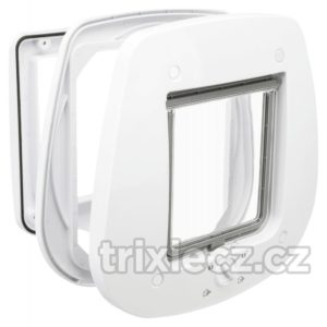 Trixie - DVÍŘKA průchozí  4-cestná/27x26cm/skleněné dveře - šedé