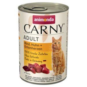 ANIMONDA cat konzerva CARNY hovězí/kuře/kachní srdce - 400g