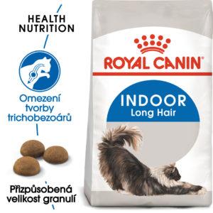 Royal Canin INDOOR LONGHAIR -  granule pro kočky žijící uvnitř a zdravou srst - 10kg