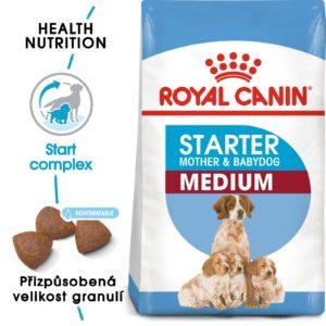 Royal Canin MEDIUM STARTER - granule pro březí nebo kojící feny a štěňata - 12kg