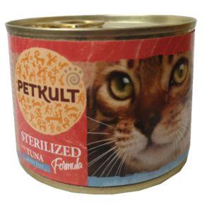 PETKULT  cat konz.  STERILISED  tuňák - 185g (9 + 3 gratis)