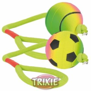 HRAČKA neonový míč na šňůře mechová guma  - 6cm/30cm