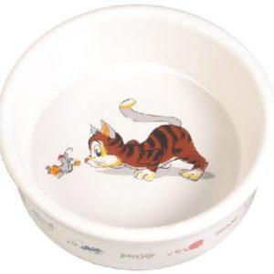 MISKA keramická BÍLÁ kočka/myš (trixie) - 0